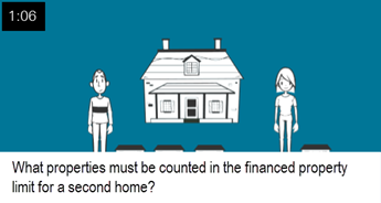What properties must be counted in the financed property limit for a second home